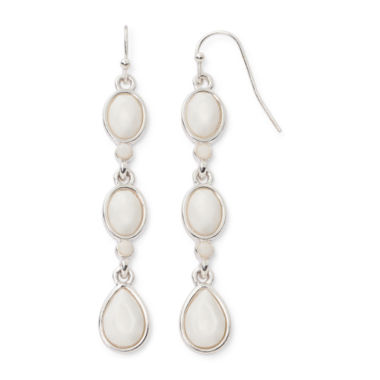 jcpenney.com | Liz Claiborne® White Bead Silver-Tone Drop Earrings