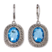 Monet® Blue Stone Silver-Tone Drop Earrings