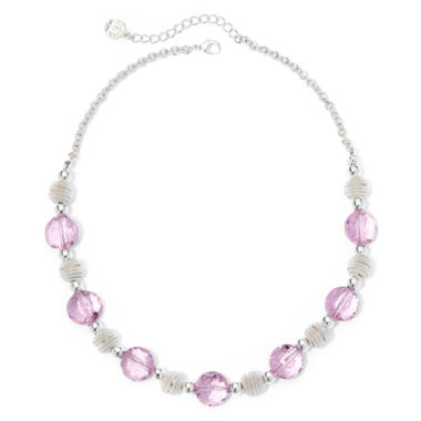 jcpenney.com | Monet® Pink Stone Silver-Tone Collar Necklace