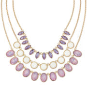 Monet® Purple and White Stone Gold-Tone 3-Row Necklace