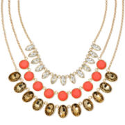 Monet® Orange Stone and Crystal Gold-Tone 3-Row Necklace