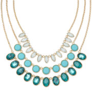 Monet® Aqua Stone Gold-Tone 3-Row Necklace