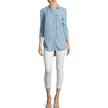 jcpenney.com | Stylus™ Back-Pleat Oversized Shirt or Skinny Ankle Jeans