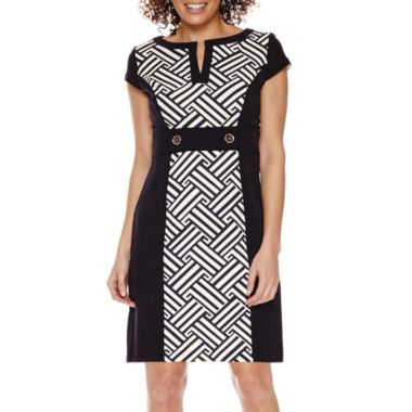 jcpenney.com | Studio 1® Cap-Sleeve Colorblock Print Sheath Dress - Petite