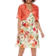 R&K Originals® Elbow-Sleeve Ruffled-Jacket Dress - Petite