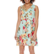 Tiana B. Sleeveless Floral Fit-and-Flare Dress - Petite