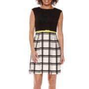 Studio 1® Sleeveless Window Pane Belted Fit-and-Flare Dress - Petite