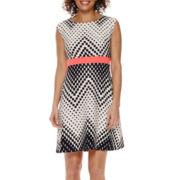 Studio 1® Sleeveless Chevron Fit-and-Flare Dress - Petite