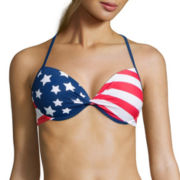 Arizona Americana Stripes Pushup Halter Swim Top - Juniors