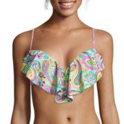 Arizona Paisley Pushup Flounce Swim Top - Juniors