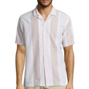 Claiborne® Short-Sleeve Linen-Blend Button-Front Shirt
