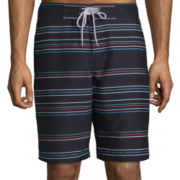 St. John's Bay® Patterned Microfiber Swim Trunks
