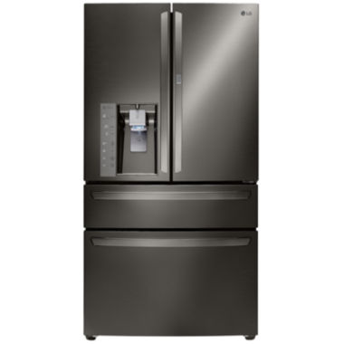 jcpenney.com | LG ENERGY STAR® 29.7 cu. ft. Super Capacity 4-Door French Door Refrigerator with CustomChill Drawer- Black Stainless Steel