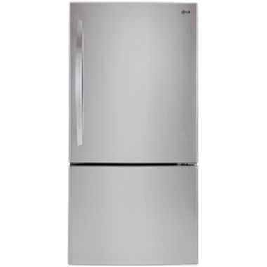 "jcpenney.com | LG ENERGY STAR® 24.1 cu. ft. 33"" Wide Bottom Freezer Refrigerator with Swing Door"