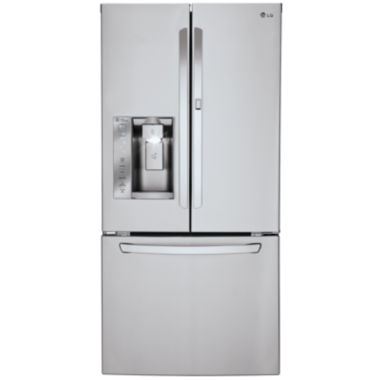"jcpenney.com | LG ENERGY STAR® 24.4 cu. ft. 33"" Wide Ultra-3-Door French Door Refrigerator Ice , Water Dispenser with Door-in-Door Design"