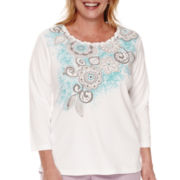 Alfred Dunner® Crystal Springs 3/4-Sleeve Tee - Plus