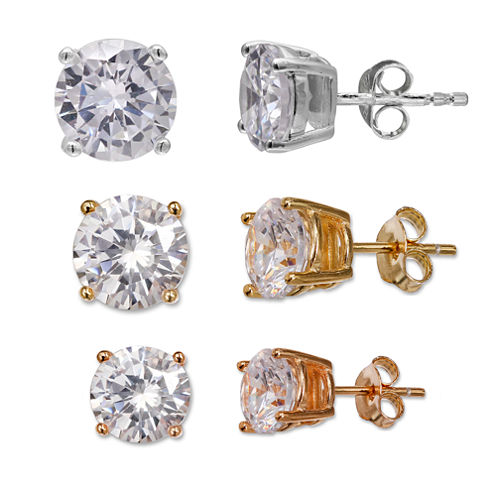 Silver Treasures 3-pc. Sterling Silver Earring Sets