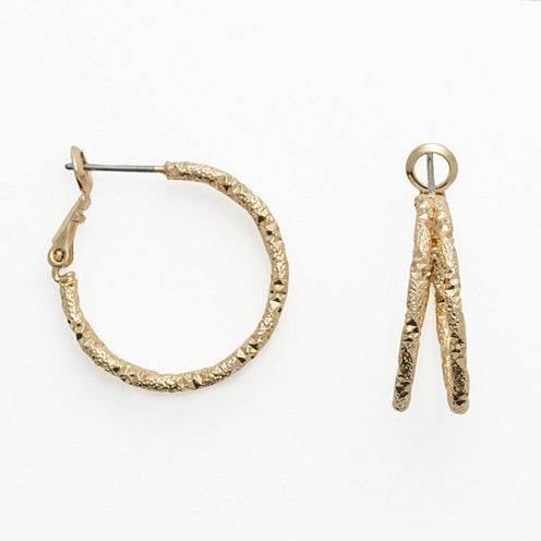 Mixit Gold-Tone Etched Double-Hoop Earrings