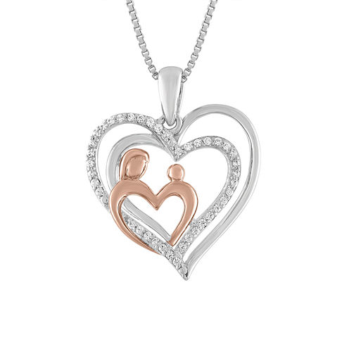Womens 1/10 CT. T.W. White Diamond Sterling Silver Gold Over Silver Pendant Necklace