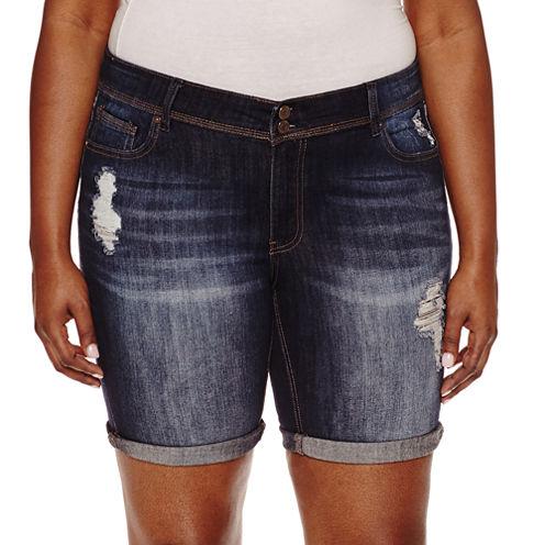 """Indigo Rein 8"""" Denim Bermuda Shorts-Juniors Plus"""