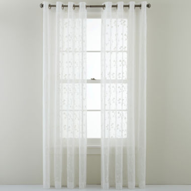 jcpenney.com | MarthaWindow™ Peeking Vine Grommet-Top Sheer Panel