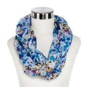Layered Floral Print Infinity Scarf