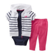 Carter's® Striped 3-pc. Hooded Cardigan Set - Girls newborn-24m