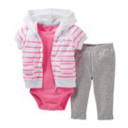 Carter's® Striped 3-pc. Hooded Cardigan Set - Girls newborn-24m