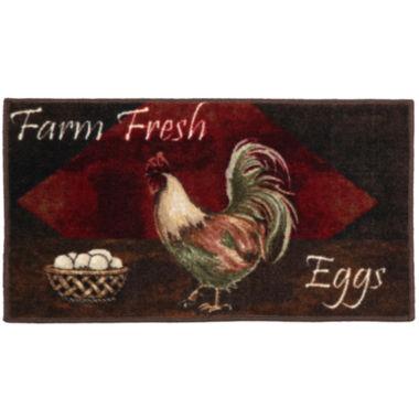 Vintage Rooster Kitchen Washable Rectangular Rug