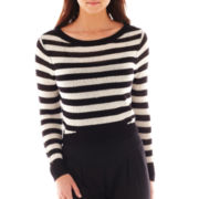 Bisou Bisou® Long-Sleeve T-Back Cropped High-Low Sweater