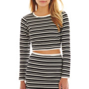 I 'Heart' Ronson® Long-Sleeve Striped Crop Top