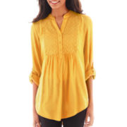 St. John's Bay® Long-Sleeve Eyelet Tunic - Tall