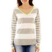 Liz Claiborne® Long-Sleeve Striped V-Neck Sweater