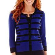 Liz Claiborne® 3/4-Sleeve Geo-Striped Cardigan Sweater