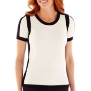 Liz Claiborne® Short-Sleeve Tipped Sweater