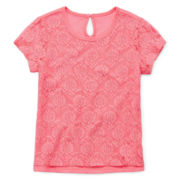 Arizona Short-Sleeve Lace Overlay Tee - Girls 4-6x