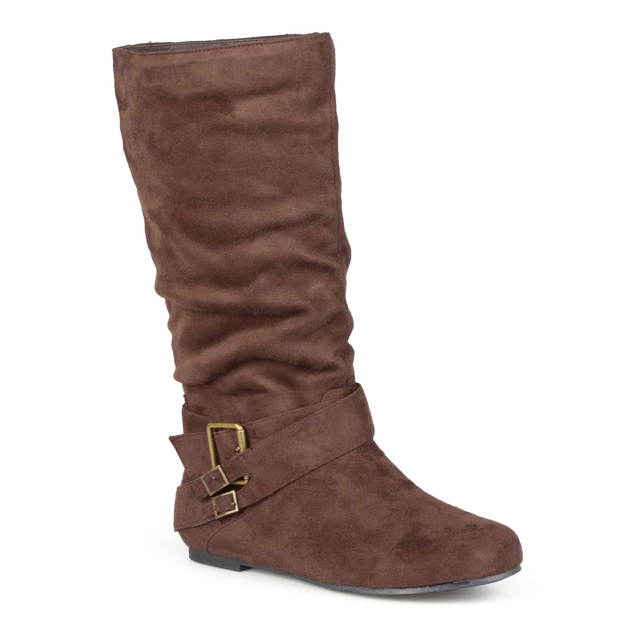 Journee Collection Shelley 6 Buckle-Accented Mid-Rise Wide Calf Slouch Boots