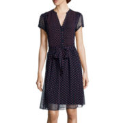 MSK Short-Sleeve Polka Dot Shirtdress