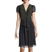 MSK Short-Sleeve Polka Dot Shirtdress