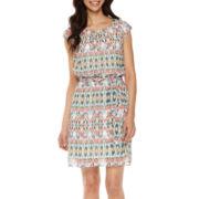 Robbie Bee® Cap-Sleeve Ikat A-Line Dress