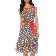 Robbie Bee® Sleeveless Dot Print Fit-and-Flare Dress