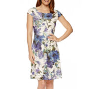Ronni Nicole Cap-Sleeve Floral Fit-and-Flare Dress
