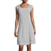 Robbie Bee® Cap-Sleeve Chevron Fit-and-Flare Dress