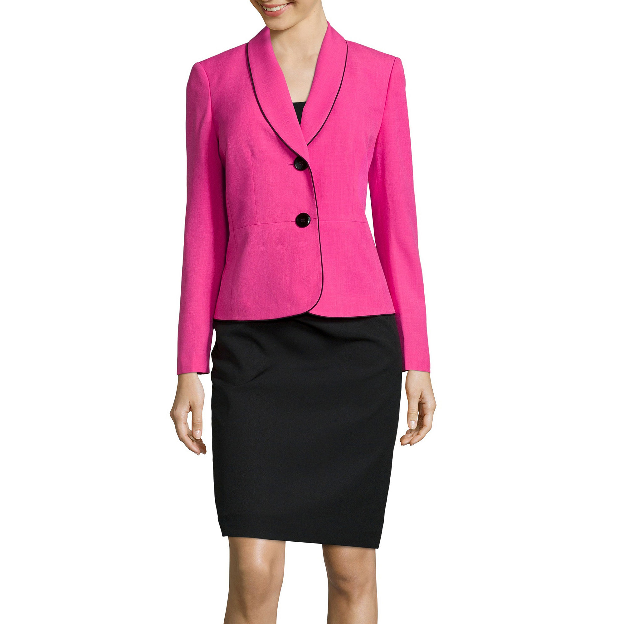 Le Suit Long-Sleeve Shawl Collar Skirt Suit Set plus size,  plus size fashion plus size appare