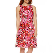 Liz Claiborne® Sleeveless Floral Fit-and-Flare Dress