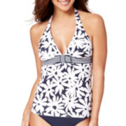Liz Claiborne® Elastic Band Floral Halterkini Swim Top