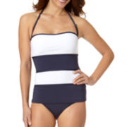 Liz Claiborne® Colorblock Bandeaukini Swim Top and Mid-Rise Swim Bottom