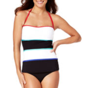 Liz Claiborne® Colorblock Bandeaukini Swim Top or High-Waist Hipster Swim Bottoms