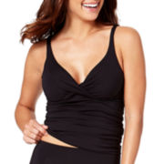 Liz Claiborne® Twist-Front Shirred Halterkini Swimwear Top