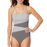 Liz Claiborne® Spliced Bandeau One-Piece Swimsuit